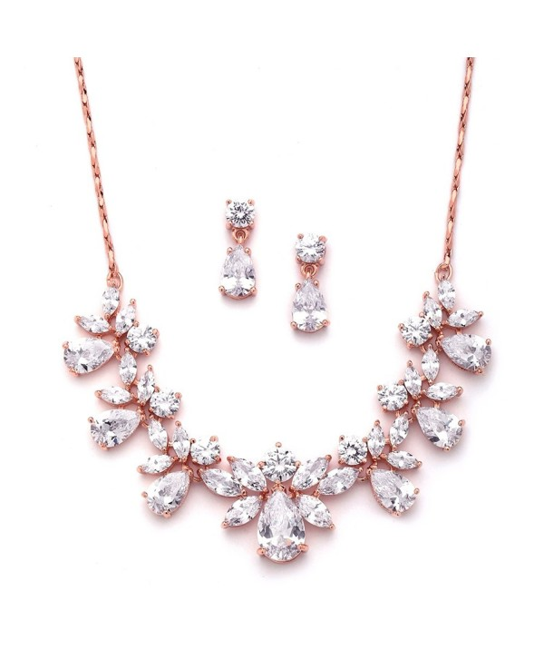 Mariell Rose Gold Multi-Shaped Pear and Marquise Cubic Zirconia Necklace Earring Jewelry Set - C412J6G9E9N