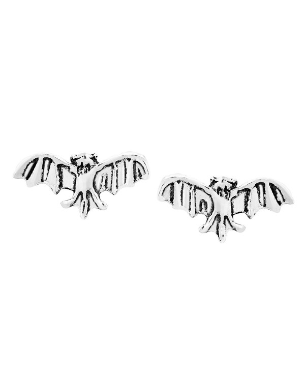 Midnight Mini Flying Bat .925 Sterling Silver Stud Earrings - CQ12NDUOPKY