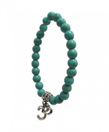 Fashion 8mm Natural Turquoise Gemstone Bead Om Yoga Meditation Stretch Charm Bracelet - CT1289J8FZH