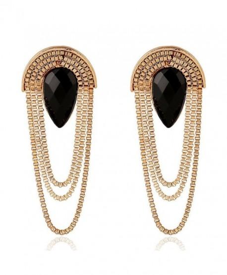 Elegant Gold Multi Strand Metal Tassel Chain Tear Drop Shape Dangle Earrings by Pashal - C012KSLEK71