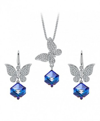 Butterfly Jewelry Set- T400 Changing Color Cubic Pendant Necklace and Earrings Made with Swarovski Crystals Blue - CT180ND0SSU