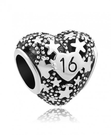 LuckyJewelry Filigree Star Heart Sweet Birthday Beads Charm for Charms Bracelet - CG12NB3XJG5