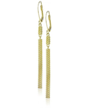 "Cole Haan ""Metal Basic"" Etched Basket Weave Linear Drop Earrings - Gold - CO127PIVQOZ"