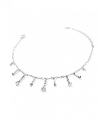 Glamorousky Elegant Charms Anklet with Silver and Dark Grey Austrian Element Crystals (1841) - CZ118SOECZB