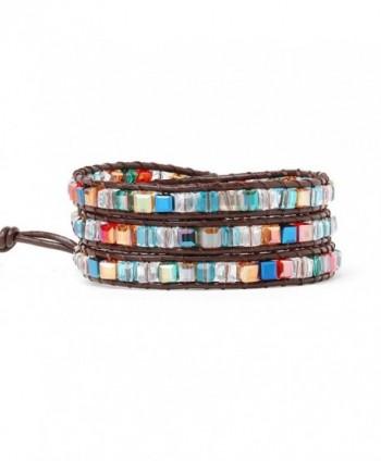 Multicoloured Crystal Bead Bracelets For Women Girls Best Friend Genuine Leather Beaded Bracelet 3 Wrap - CM188YTHAXS