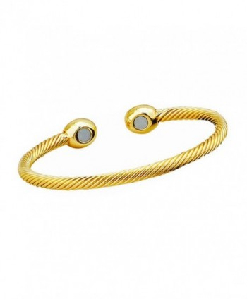 Magnetic Therapeutic Twisted Cable Bangle Cuff Bracelet - Twisted Cable Gold - CG188ZGKM84