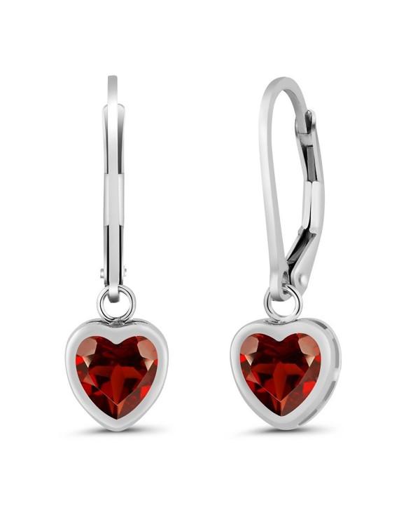1.80 Ct Heart Shape Red Garnet 925 Sterling Silver Earrings - CB11MUWPZWV