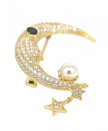 18k Gold-plated Brooch Pins Classic Stars and Crescent Dragonfly Owl Pattern Breastpins with Pearl CZ - CI187ZUOQHD