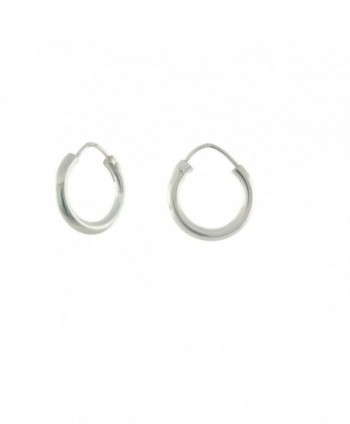 Sterling Silver 3mm Round Tube Endless Hoop Earrings - CG17YOTSNN8