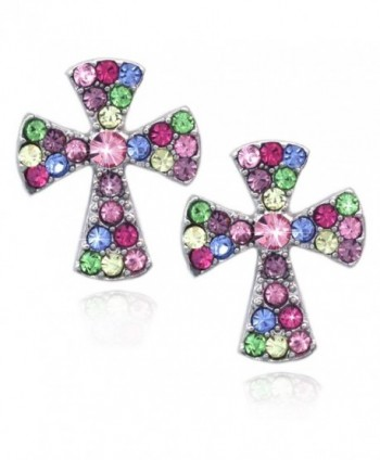 Small Cross Charm Post Stud Earrings Christian Catholic Jewelry Gift - Multi-color - CG125C81RMV