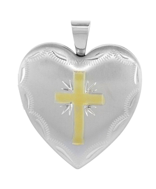 Sterling Silver Heart Locket Necklace 4 Picture Gold Cross 1 inch - CH11E1FRSXT