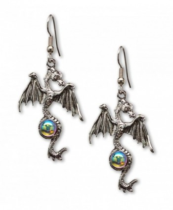 Gothic Dragon Dangle Earrings Silver Finish Pewter Mystical Jewelry - C711CN9FIVJ