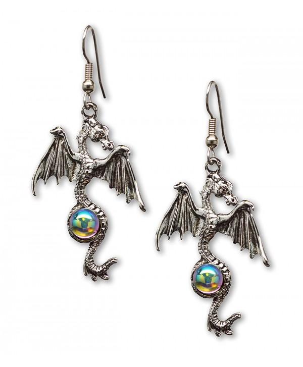 Gothic Dragon Dangle Earrings Silver Finish Pewter Mystical Jewelry - C711CN9FIVJ