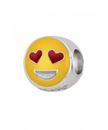 Persona Sterling Silver Kissing Emoji Bead Charm - Heart Eyes - CU12NT34CNV