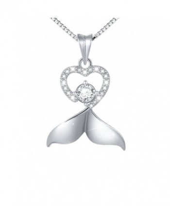 """925 Sterling Silver White Cubic Zirconia Dolphin Tail Love Heart Pendant Necklace for Women- Box Chain 18"""" - CC182GU4KR3"""
