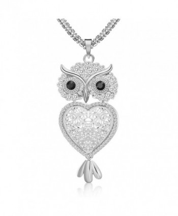 "29"" Vintage Night Owl Heart Pendant Necklace Rhinestone Alloy Long Chain Silver Plated - Silver - CE188N8RWOG"
