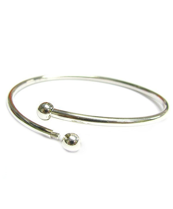 "Sterling Silver Flex Bangle Cuff Bracelet with Screw End For European Bead Charms- 7"" - CK115YT9TR9"