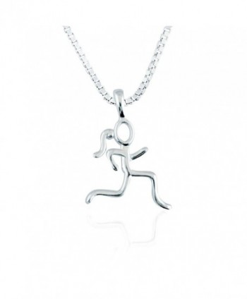 Sterling Silver Stick Figure Runner Necklace | .925 Sterling Silver Necklaces | Running Jewelry - CJ125MK1SFF
