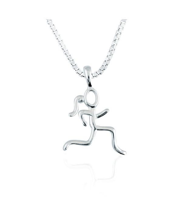 Sterling Silver Stick Figure Runner Necklace | .925 Sterling Silver Necklaces | Running Jewelry - CJ125MK1SFF