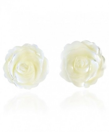 Rose of Innocence Carved White Mother of Pearl .925 Sterling Silver Stud Earrings - C312N6CDDND