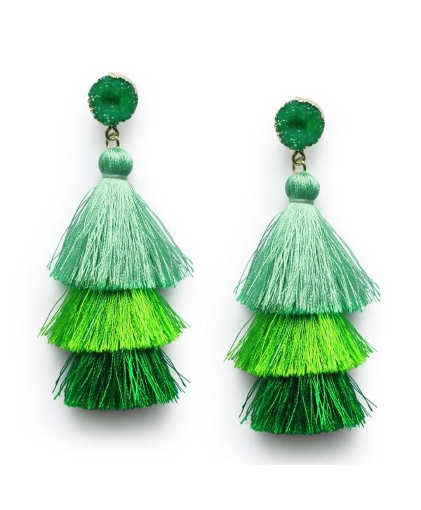 Tassel Layered Dangle Earrings Christmas - Graduated Green - CE187Z2Z03Y