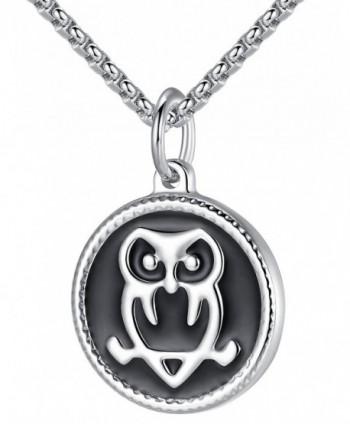 "LineAve Stainless Steel Owl Pendant Necklace- Unisex- 22"" + 2"" Ext- 7c0016 - C4182W3U4MN"