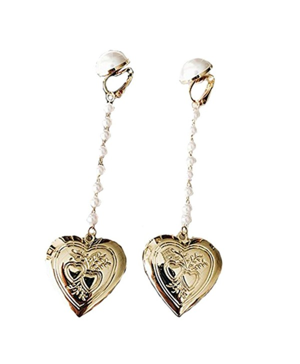 Women & Girls Gold Tone Heart Shaped Photo Locket Simulated Pearl Clip on Earrings Non Pierced Dangle - CA186CEQ2I9