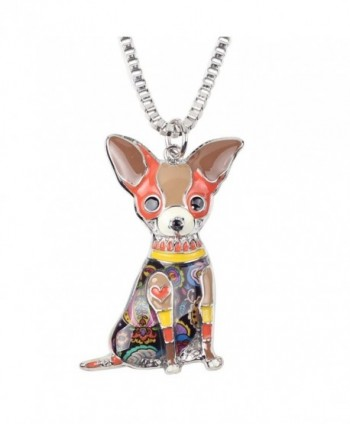 "Bonsny Love Pets Enamel Zinc Alloy Chihuahua Necklace Dog Animal Pendant Women Jewelry 18"" - Brown - C512N1EU6VQ"