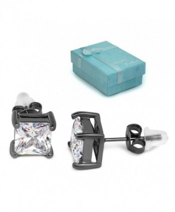 Buyless Fashion Surgical Steel Squared Crystal CZ Earrings In Gift Box (Multi sizes) - C412CLWI035