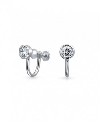 Bling Jewelry 925 Silver 3.5mm CZ Bezel Round Screw Back Clip On Earrings - CI11X3D6CYL