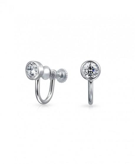 Bling Jewelry 925 Silver 3.5mm CZ Bezel Round Screw Back Clip On Earrings - CI11X3D6CYL
