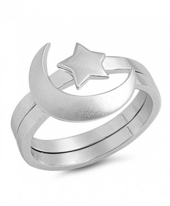 Unique Moon Star Ring Set New .925 Sterling Silver Cute Polished Band Sizes 5-12 - CF12HL629GZ