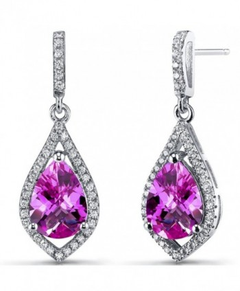 Created Pink Sapphire Tear Drop Dangle Earrings Sterling Silver 5 Carats - CR12BHQGN6H