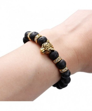 "Synthetic Lava Beaded Healing Bracelet Leopard Head and Rhinestone Elastic Bracelet 24cm(9 4/8"") - CZ12HG6R0KP"