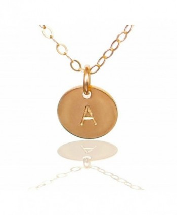 Initial Necklace- Tiny Gold Filled Custom Alphabet Necklace - Dainty Disc- Personalized Monogram Necklace - CA110ZI7COV