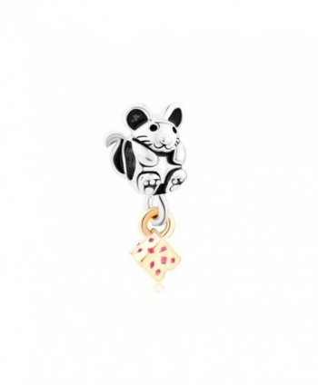 LovelyJewelry Greedy Cute Mouse Grabbing Golden Cheese Animal Charm Beads For Bracelets - C611TC1DMZP