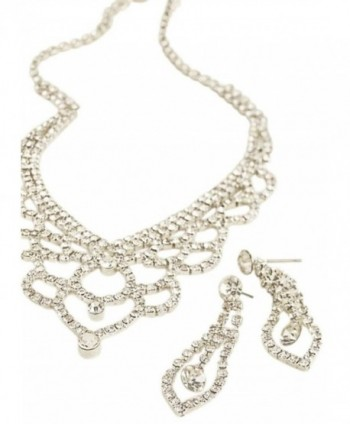 Deep V Scalloped Necklace and Earring Set Style ACS632 - Crystal - CM11V4V5IOT