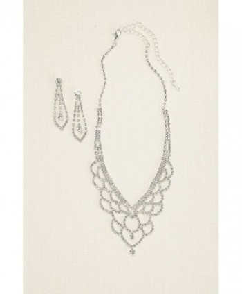Scalloped Necklace Earring ACS632 Crystal