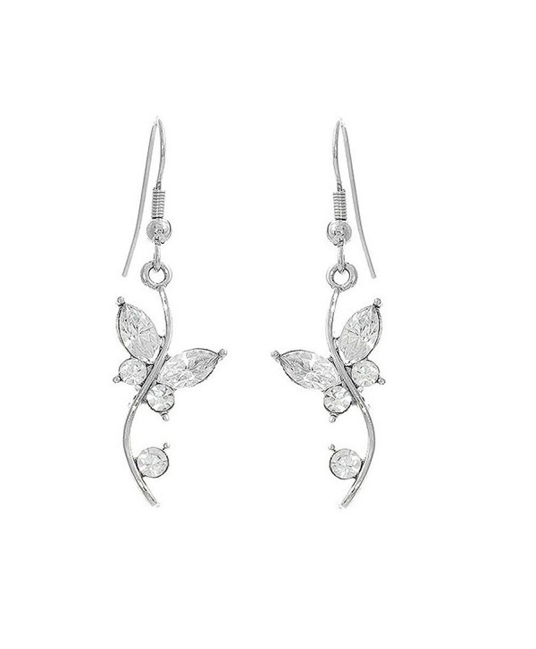 Glamorousky Butterfly in Flower Earrings with Silver Austrian Element Crystals and Crystal Glass (1329) - C5118SOE4LD