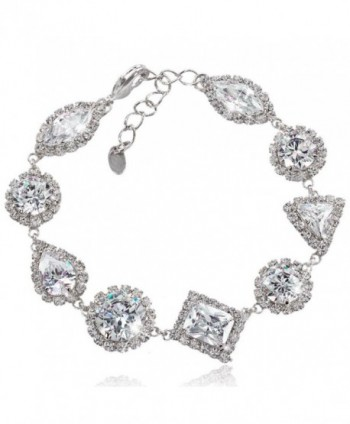 EVER FAITH Art Deco Wedding Bracelet Chain Clear CZ Silver-Tone - CL11LYQ8L4X
