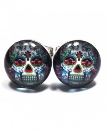Cross Floral Skull Unisex Stainless Steel White Stud Earrings - C711SE1RO6H