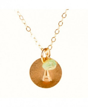 Initial Necklace- Tiny Gold Filled Personalized Custom Dainty Disc with Birth Month Charm - C9110ZHF5BT