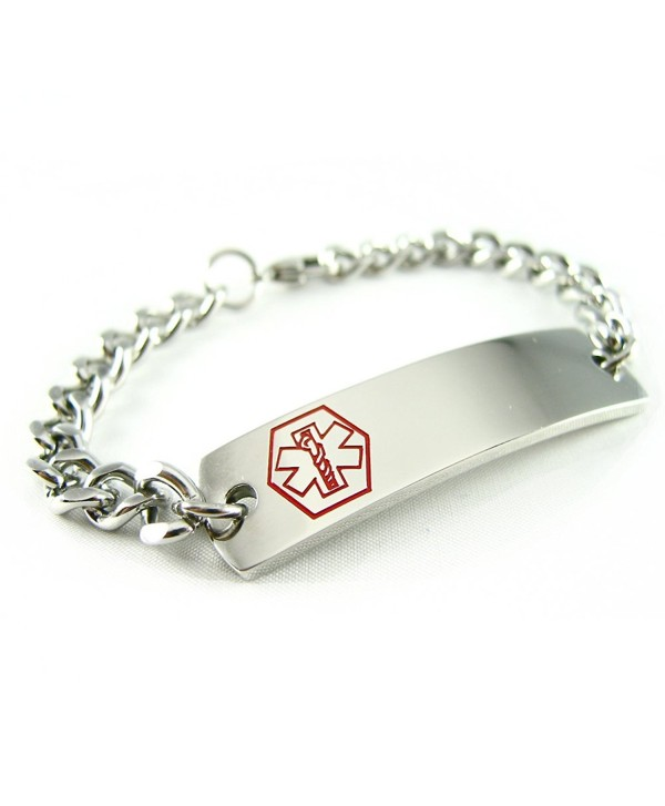 MyIDDr - Pre-Engraved & Customizable Blood Thinners Alert ID Bracelet- Curb Chain - CA114KVMRML