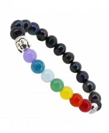 7 Chakra Balancing Stones Meditation Yoga Buddha Lotus Jewelry Stretch Bracelet - CJ123V2P721
