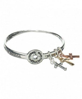 Mothers Prayer Twist Bangle Bracelet God Bless with Cross Charms - C111FIRLG8H