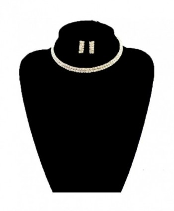 Clear 2 Row Elastic Flexing Rhinestone Choker Necklace and Earrings Jewelry Set in Gold-Tone - CH11VVFX38B