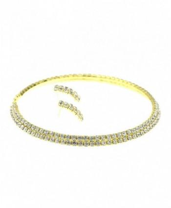 Elastic Rhinestone Necklace Earrings Gold Tone in Women's Jewelry Sets