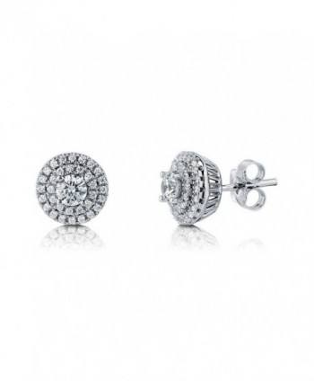 BERRICLE Rhodium Plated Sterling Silver Halo Stud Earrings Made with Swarovski Zirconia Round - C4129CCHUVP