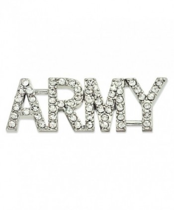 "PinMart's Rhinestone Crystal ARMY Brooch Pin with Safety Back 1-3/4"" - CP119PEOO6P"
