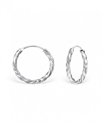 925 Sterling Silver Twisted Endless Hoop Earrings 558 (18mm) - CY12N4Q9B7Y